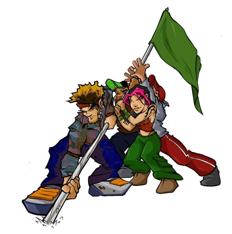 Raver Flag Group vector illustration