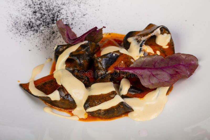 Ravioli med krabban arkivbilder