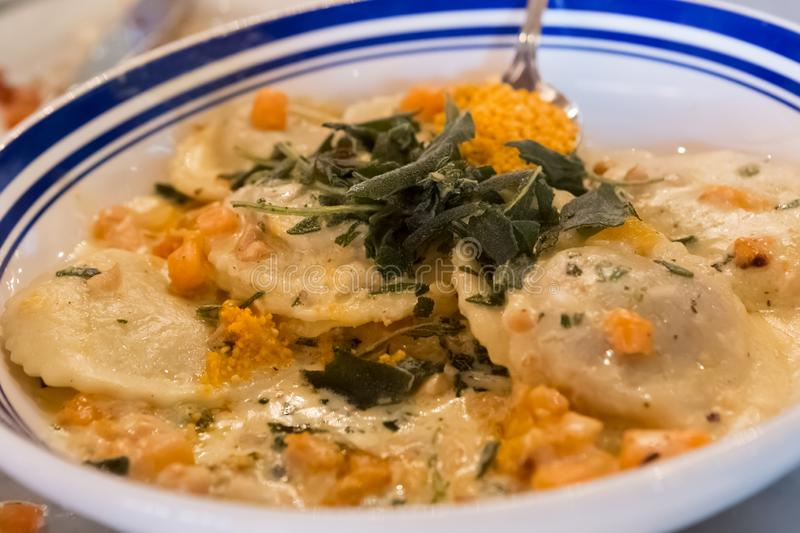 Ravioli Pasta with Cheese and Herbs royalty free stock photos