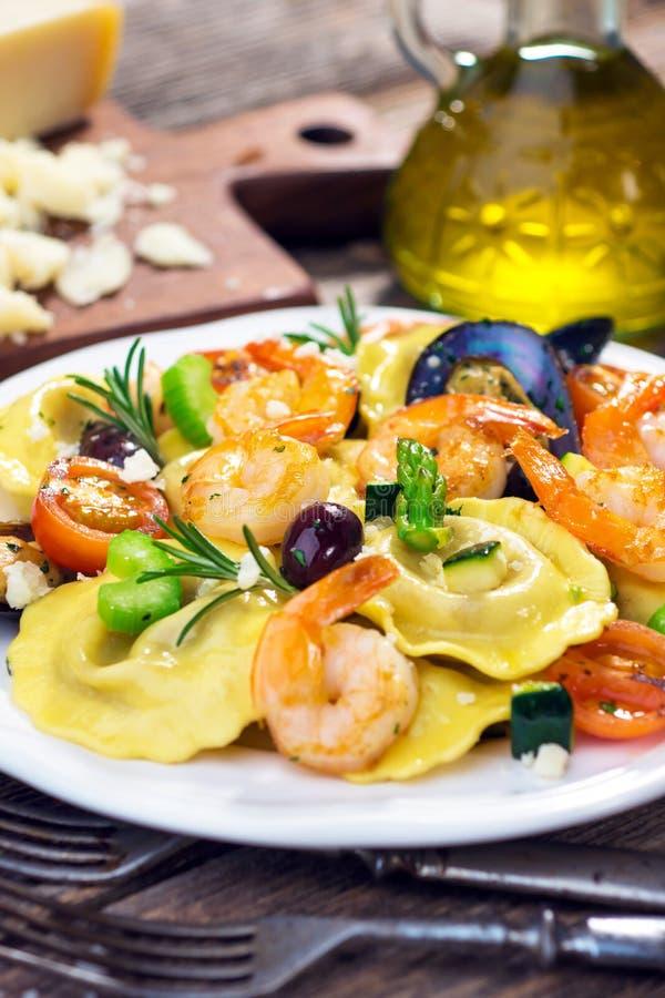 Ravioli with seafood stock photography