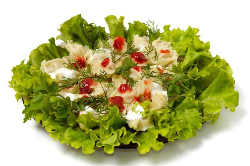 Raviolis con los verdes plato de la crema amarga y de la salsa de tomate aislado imagen de archivo