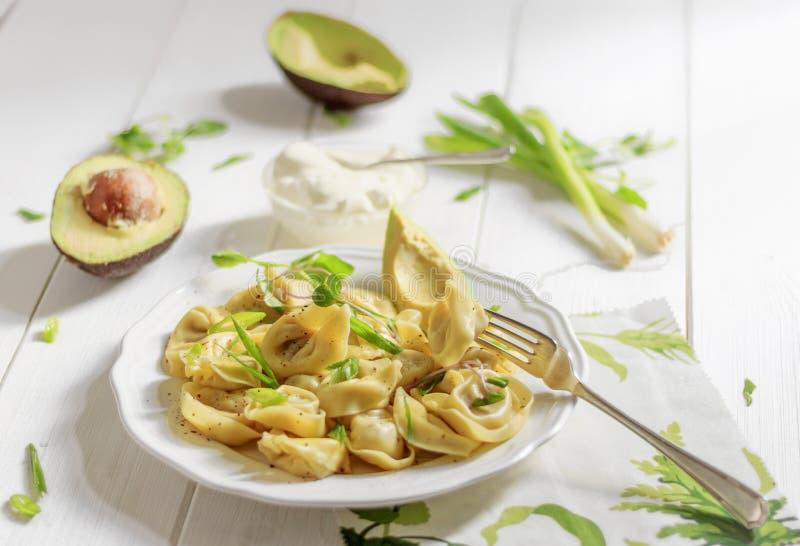 Raviolis del italiano de la foto de la comida fotografía de archivo libre de regalías