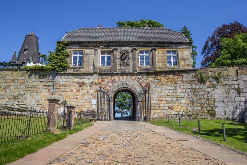 Ravissez la maison du château de sommet dans mauvais Bentheim photo libre de droits