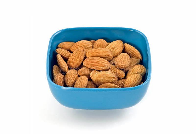 Download Raw almonds stock photo. Image of blue, copy, space, plastic - 20077766