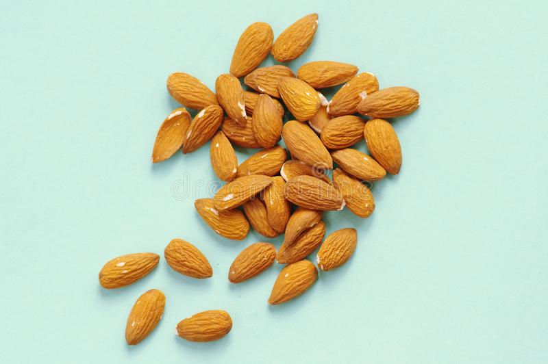 Raw Almonds On The Blue Background Stock Photo Image Of Food Nutrition 123218940