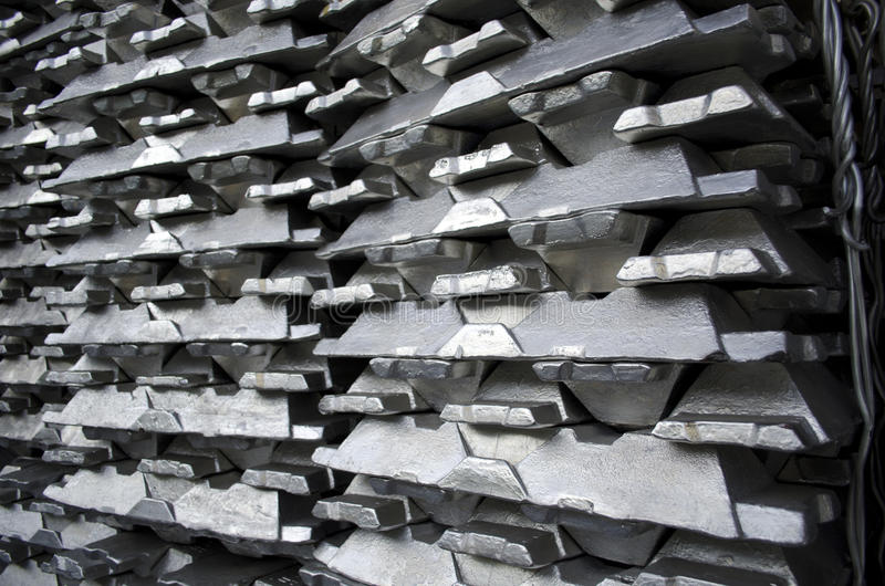 Raw aluminum ingots stock photography
