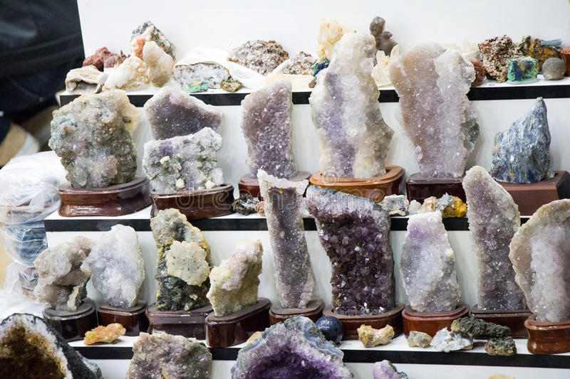Raw amethyst rock with crystal ametist. Esoteric royalty free stock photography