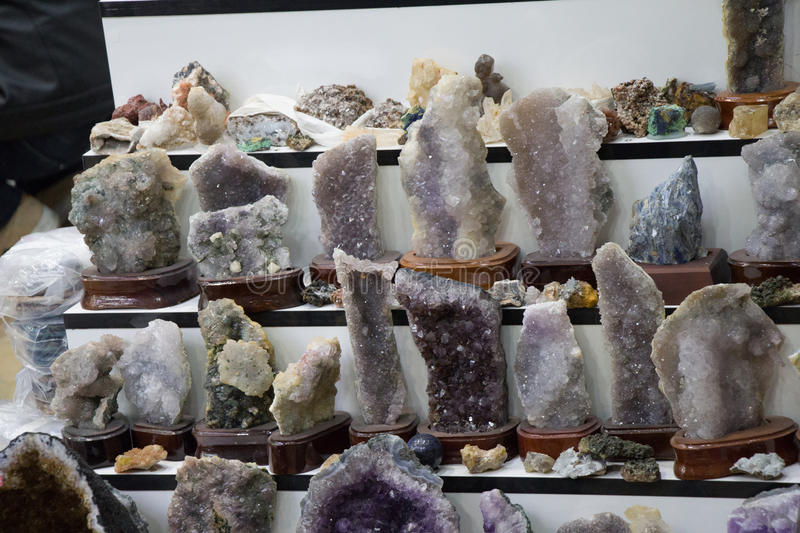 Raw amethyst rock with crystal ametist. Esoteric royalty free stock images