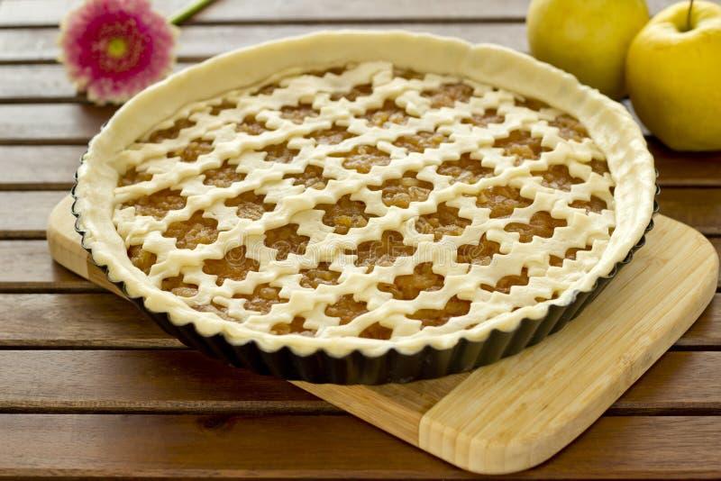 Raw apple pie royalty free stock photos