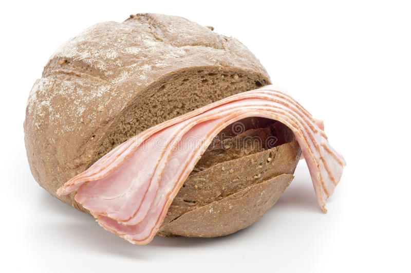 Raw bacon with bread stock image