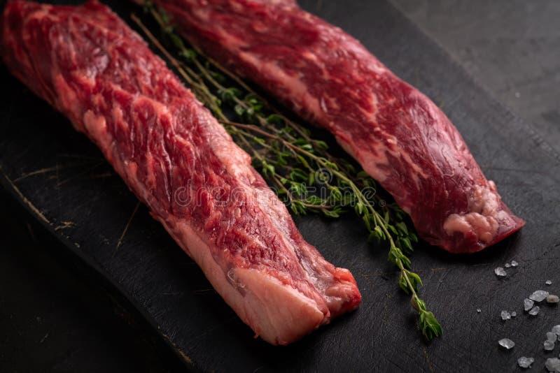 Raw bavet beef tenderloin steak, alternative cuts for grill royalty free stock image