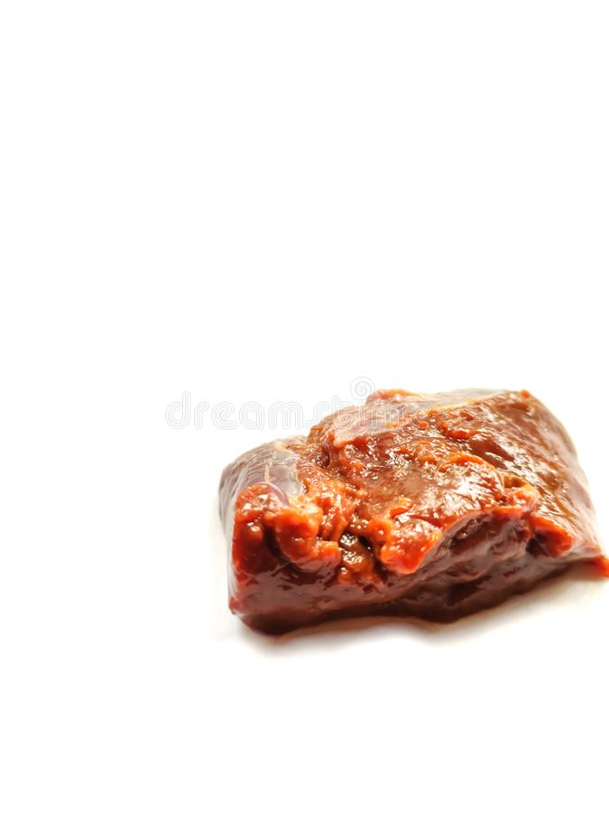 Raw beef liver and beef fat isolated on white background. Beef, isolated, white, background, raw, meat, breakfast, bone, boneless, beefliver, test, testy stock photography