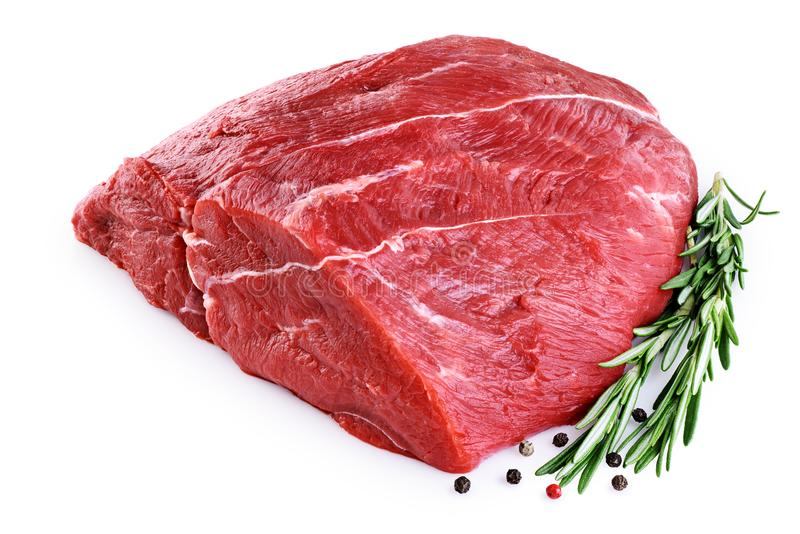 Raw beef meat, pepper and rosemary isolated on white background. royalty free stock images