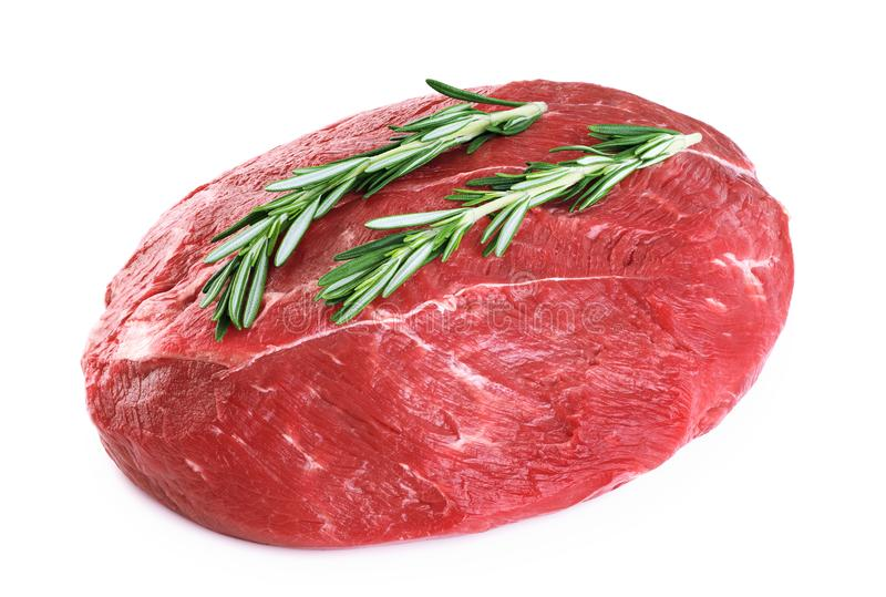 Raw beef meat and rosemary royalty free stock photos