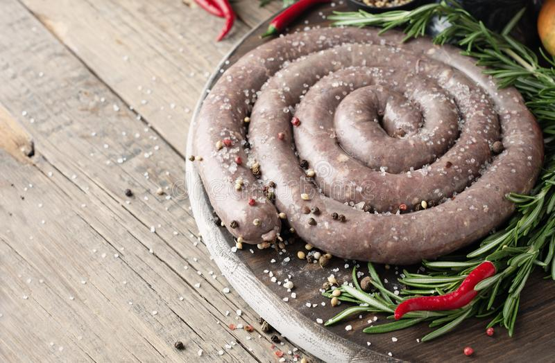 Raw beef sausages, selective focus African boerewors royalty free stock images