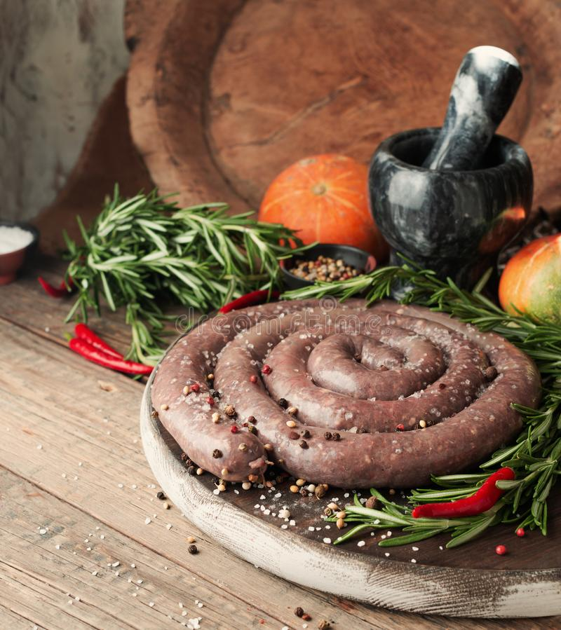 Raw beef sausages, selective focus African boerewors stock images