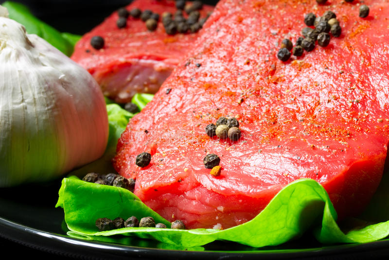 Raw beef steak stock photos