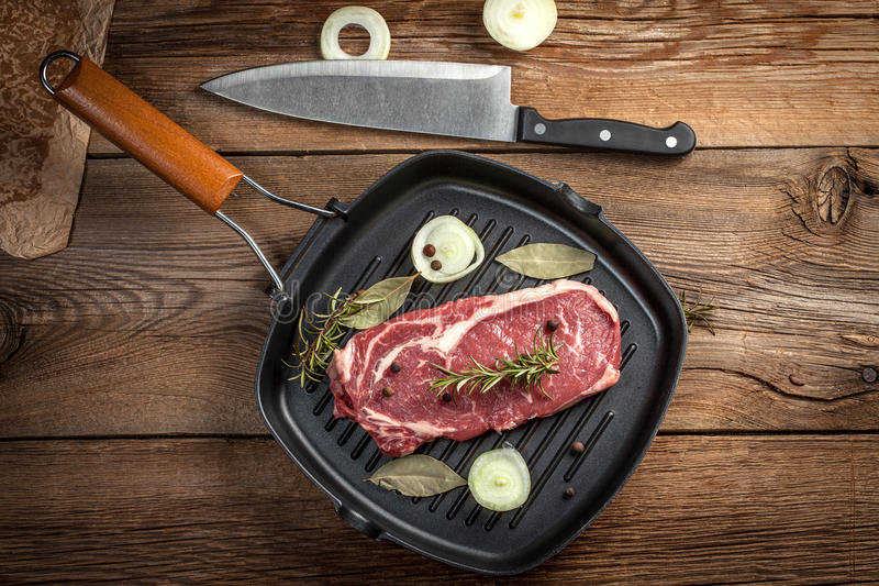 Download Raw beef steak. stock image. Image of beef, table, roast - 56691481