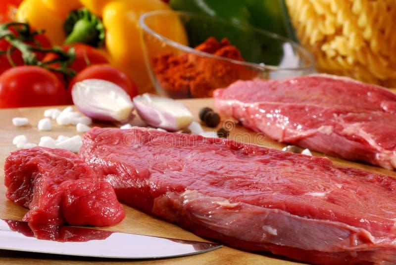 Raw beefsteak royalty free stock photo