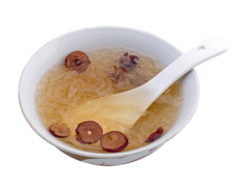 Raw Bird nest soup with Chinese bowl. Dry, china, raw royalty free stock images