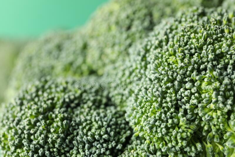 Raw broccoli, macro. Fresh vegetable. Healthy. Food stock photo