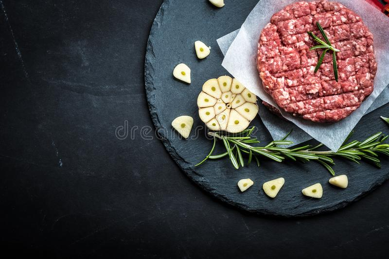 Raw cutlet for homemade burger stock photography