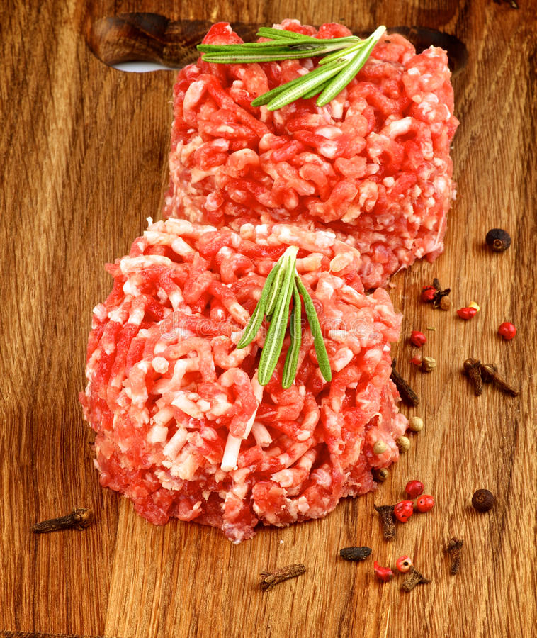 Raw Burgers royalty free stock photo