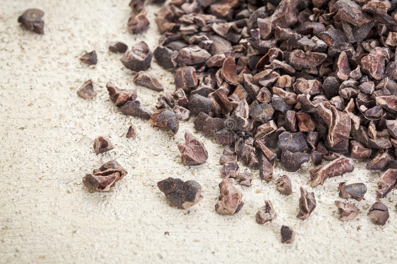 Raw cacao nibs royalty free stock image