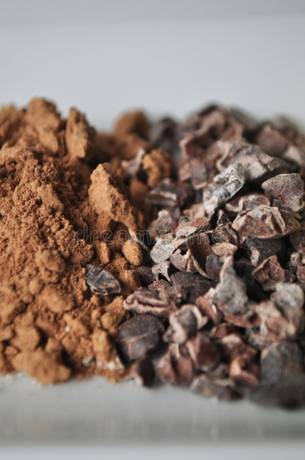 Raw cacao powder and crushed cocoa beans. On a white plate, ingredients for making chocolate, close-up royalty free stock photos