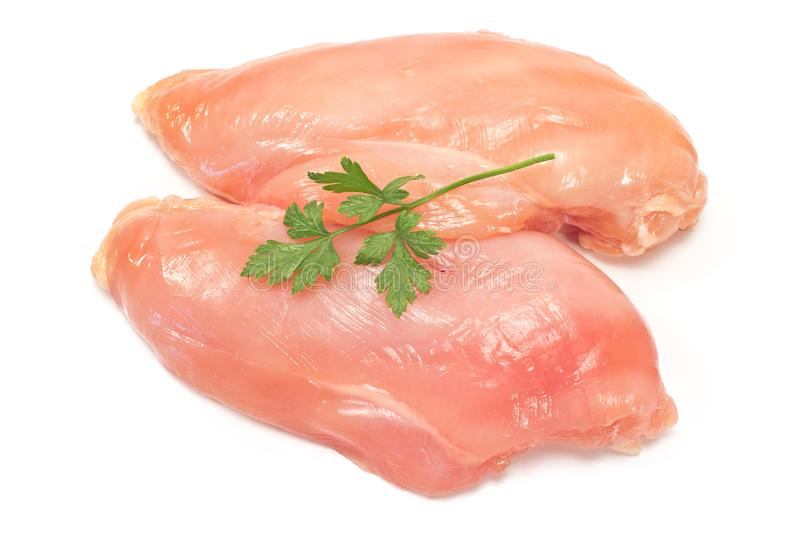 Raw chicken breast fillet isolated on white royalty free stock photography
