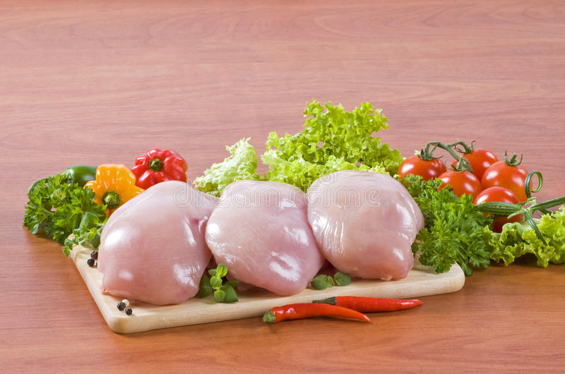Raw chicken breast fillets royalty free stock image