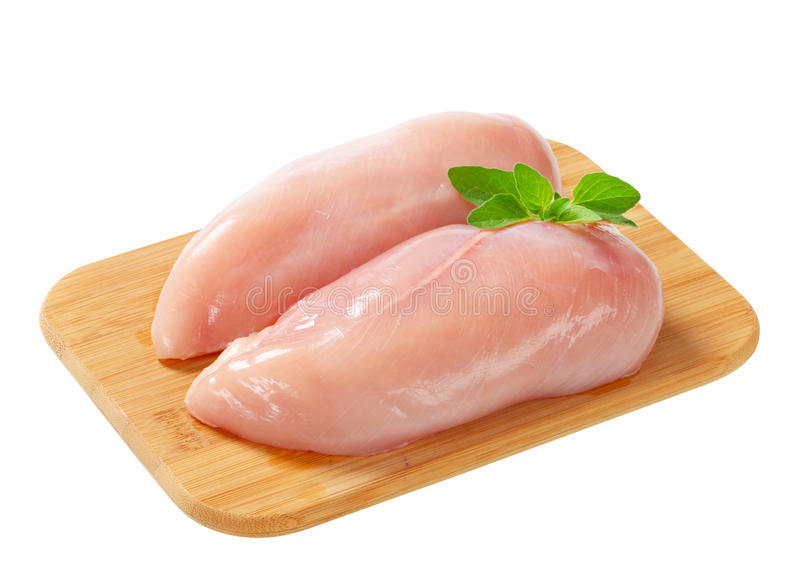 Raw chicken breast fillets stock photography