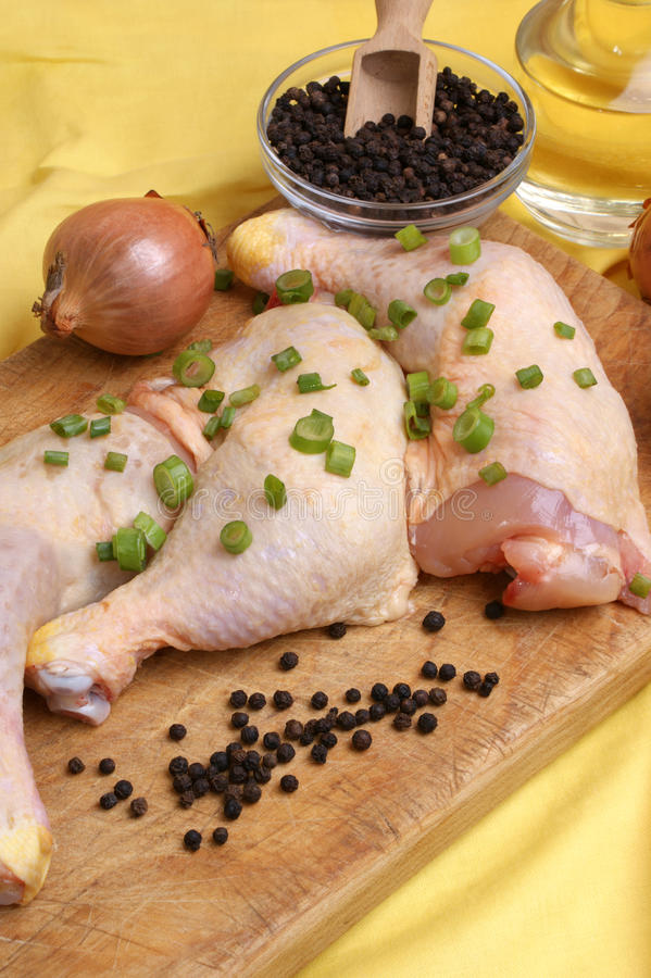 Download Raw   Chicken Drumstick With Spring Onion Stock Photo - Image: 14774450