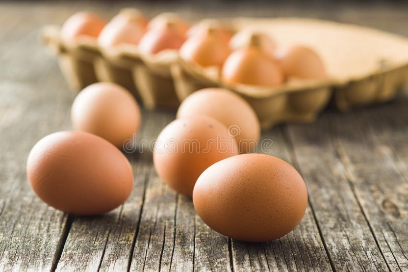 Raw chicken eggs royalty free stock images