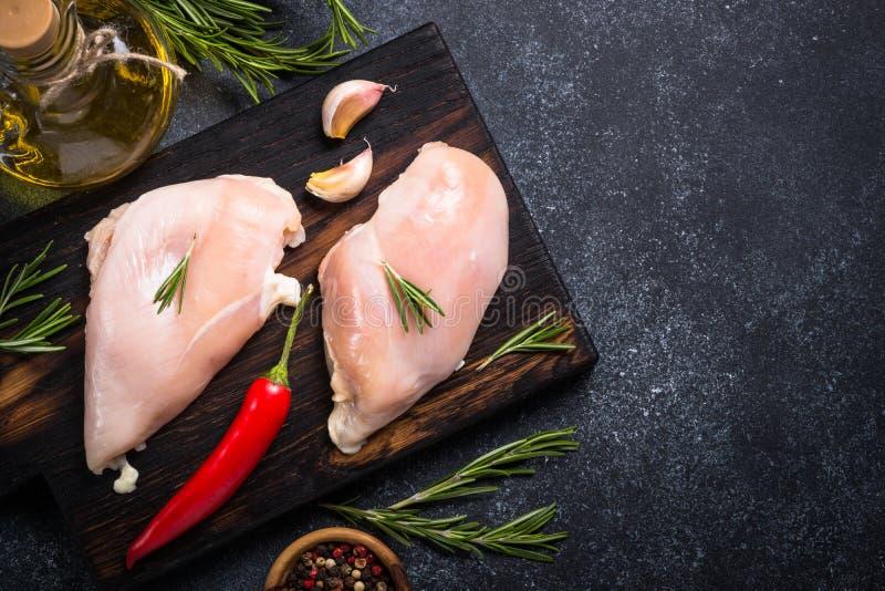 Raw chicken fillet stock photos