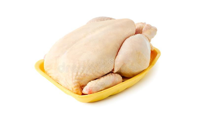 Raw chicken on retail tray over white stock photo