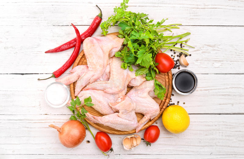 Raw chicken wings. stock image