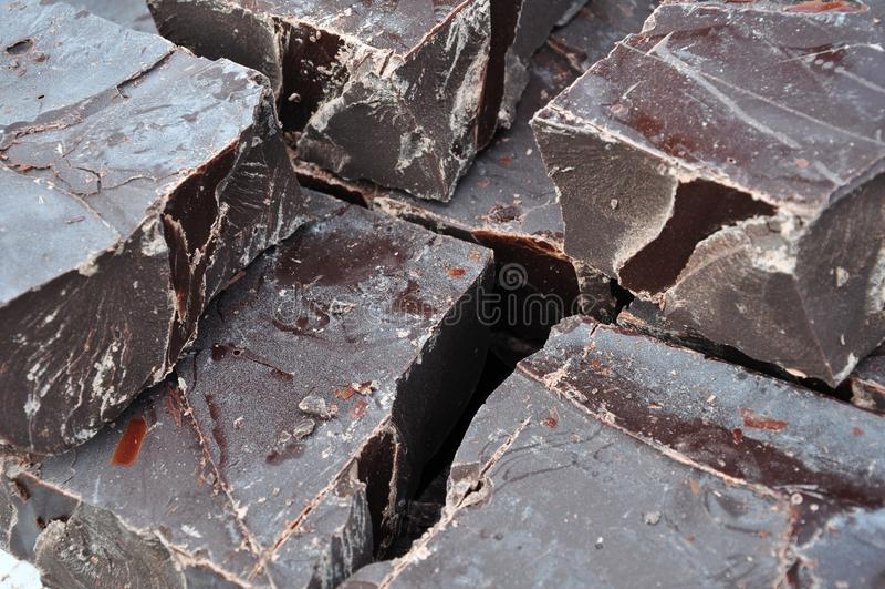 Raw chocolate pieces stock image