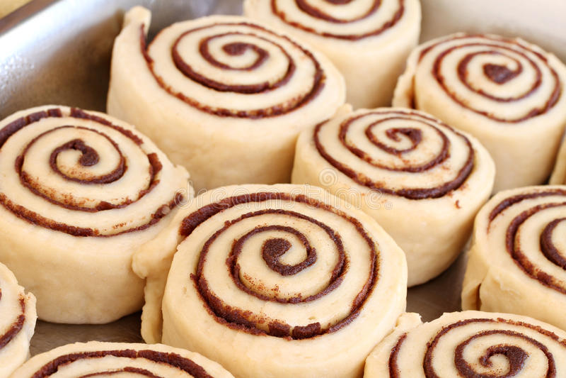 Raw Cinnamon Buns Ready To Bake Stock Photo
