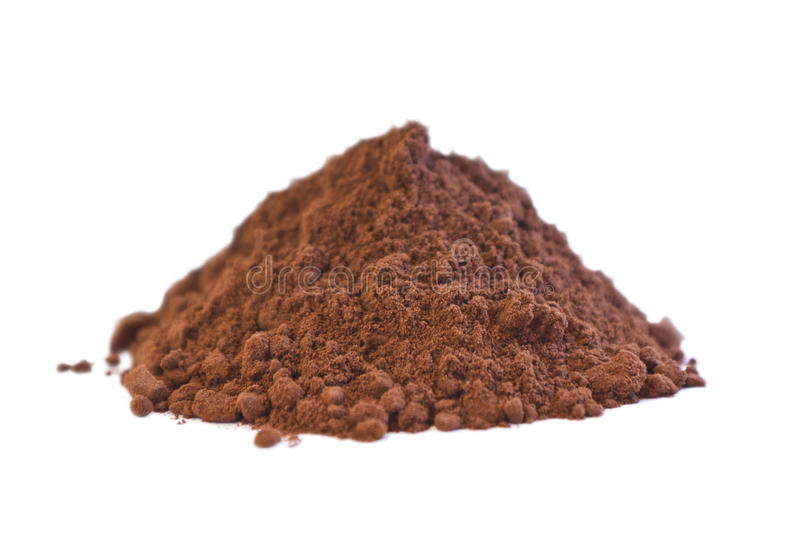 Raw Cocoa Powder. Side view of a pile of organic raw cocoa powder on white background stock photo
