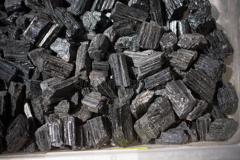 Raw crystal of black Tourmaline Schorl gemstone royalty free stock images