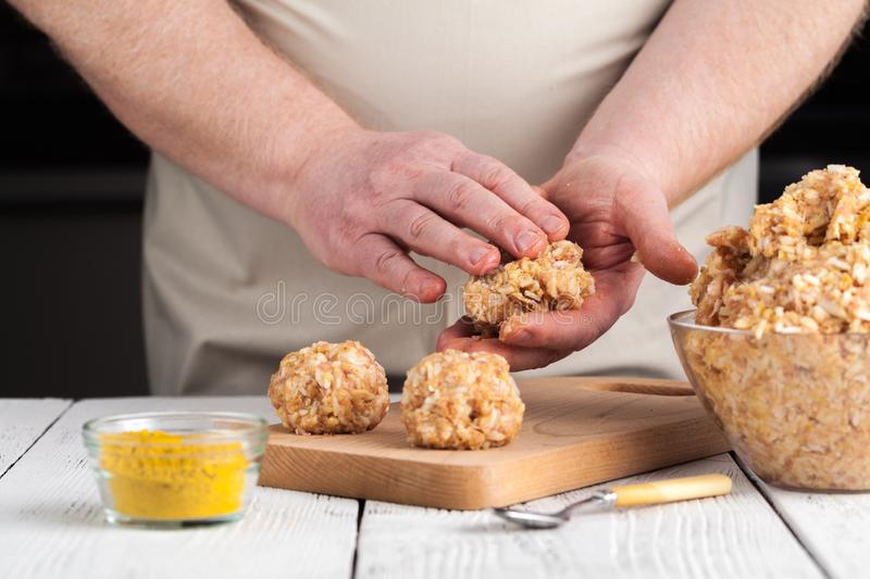 Raw diet chicken meatball cooking process royalty free stock image