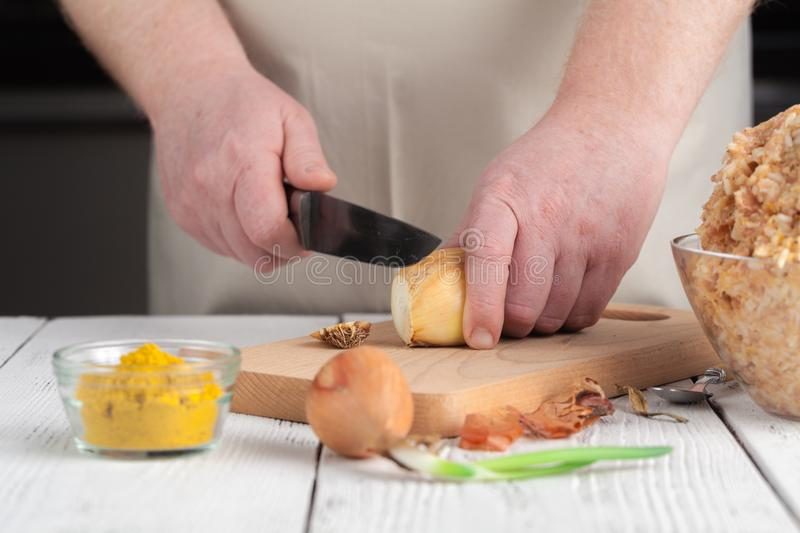 Raw diet chicken meatball cooking process royalty free stock photos