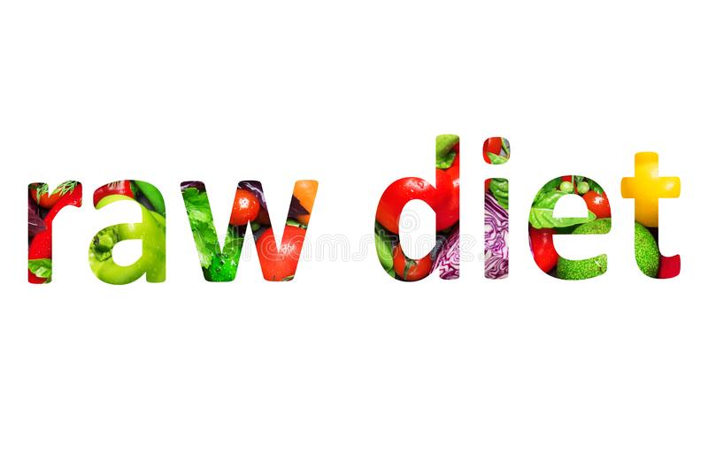 Raw diet, multi-colored text cut out of vegetables photo, the inscription on white background. Raw diet, multi-colored text cut out of vegetables photo, the royalty free illustration
