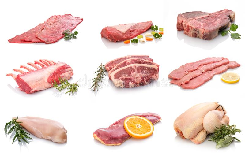Raw different meat from lamb chicken beef and calf royalty free stock photo