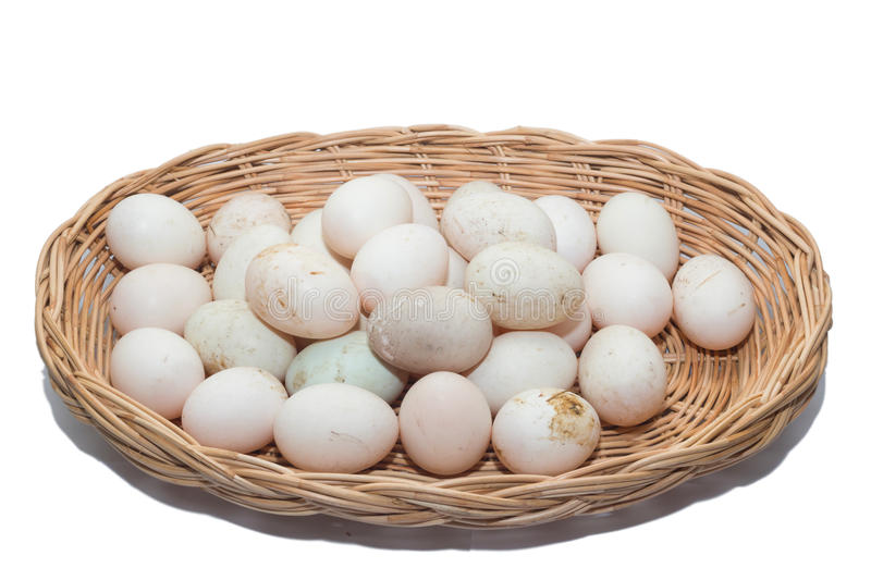 Raw dirty duck eggs in the bamboo bowl basket royalty free stock photos