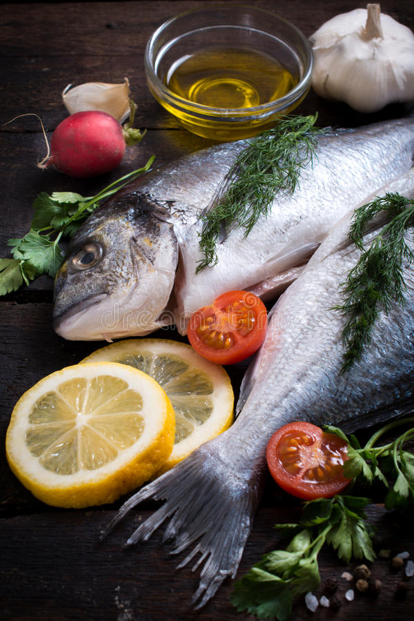 Raw dorada fish stock image