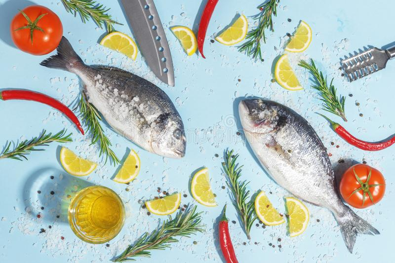 Raw dorada fish with spices, salt, lemon and herbs, rosemary on a ligth-blue background. Top view. Seafood healthy freshness pepper eating bream dorado dinner stock photos