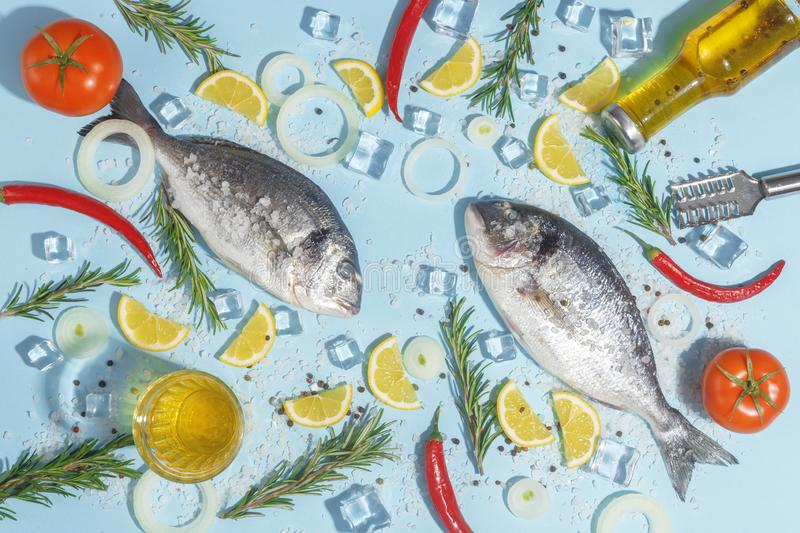 Raw dorada fish with spices, salt, lemon and herbs, rosemary on a ligth-blue background. Top view. Seafood healthy freshness pepper eating bream dorado dinner royalty free stock image