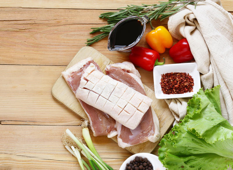 Raw duck fillet, spices and sauces stock images